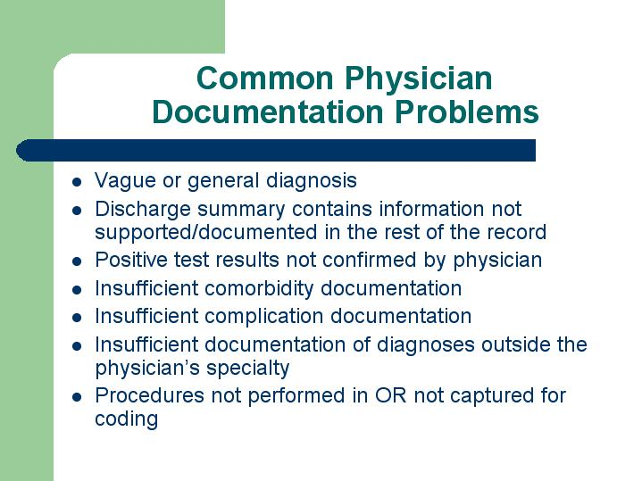 Common Physician Documentation Problems