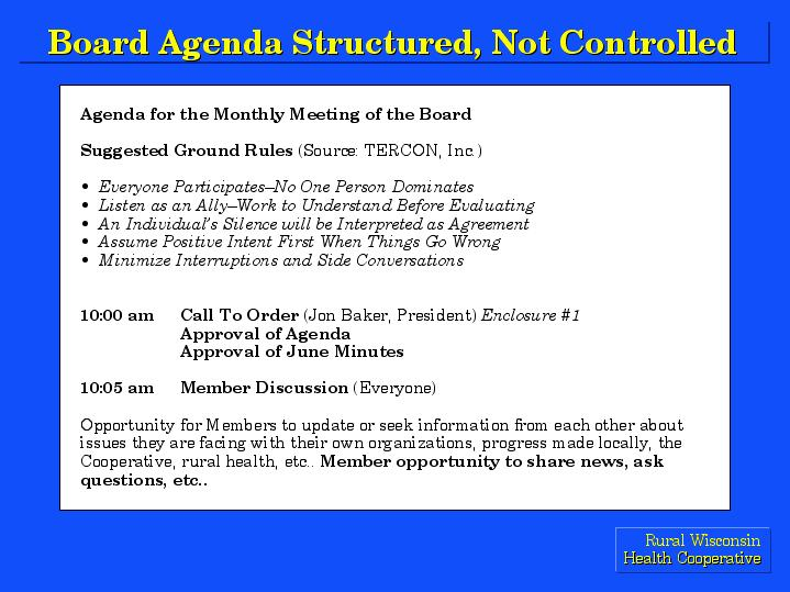 Board Agenda Structured, Not Controlled